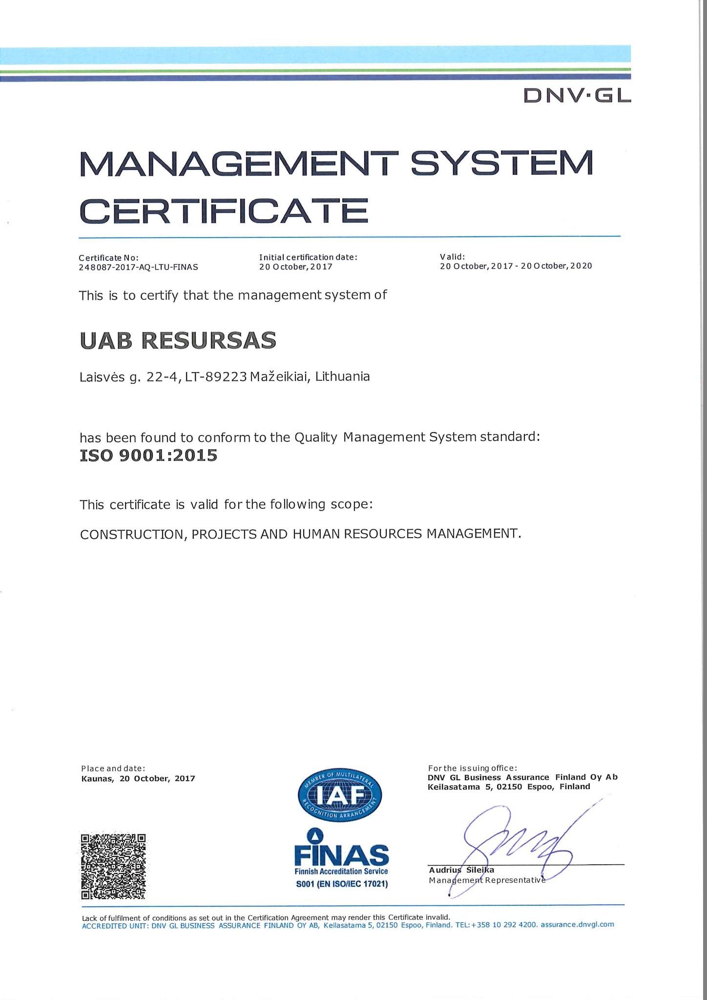 Certificates resursas iso 90012015 1betcityfo Gallery